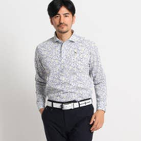 アダバット adabat ボタニカル柄長袖ポロシャツ (ネイビー×イエロー)