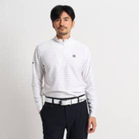 アダバット adabat ボーダージップアップ長袖ポロシャツ (ホワイト×グレー)