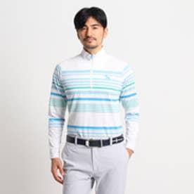 アダバット adabat マルチボーダー長袖ポロシャツ (ホワイト×ブルー)