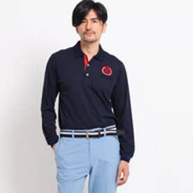 アダバット adabat 【UVカット】【吸水速乾】胸ポケット付長袖ポロシャツ (ネイビー)