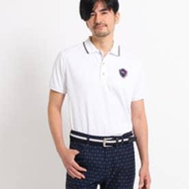 アダバット adabat 【クールコア】【UVカット】プリーツダイヤ柄 半袖 ポロシャツ (ホワイト)