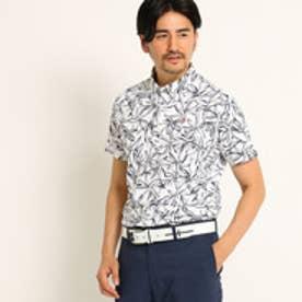 アダバット adabat 【UVカット】【吸水速乾】パームツリーデザイン半袖ポロシャツ (ホワイト)