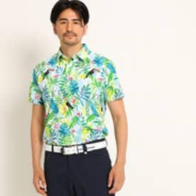アダバット adabat 【UVカット】【吸水速乾】ボタニカル柄半袖ポロシャツ (ホワイト)