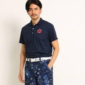 アダバット adabat 【クールコア】【UVカット】パームツリーモチーフ半袖ポロシャツ (ネイビー)