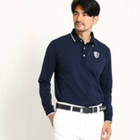アダバット adabat ◆【ストレッチ】 1ポイント 長袖ポロシャツ メンズ (ネイビー)