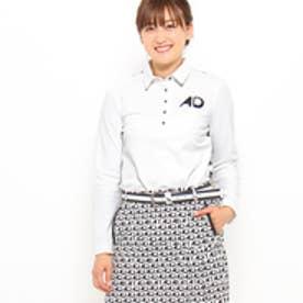 アダバット adabat ADロゴボーダーバックップリント長袖ポロシャツ (ホワイト系)