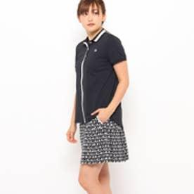 アダバット adabat ふんわりシルエットライン入り半袖ポロシャツ (ブラック)