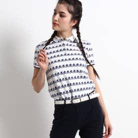 アダバット adabat サーフィンモチーフ半袖ポロシャツ (ホワイト×ネイビー)