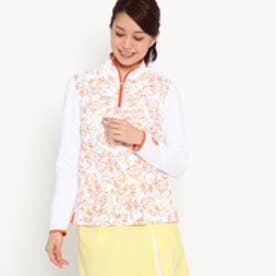 アダバット adabat 【UVカット】【吸水速乾】パイナップル柄長袖ポロシャツ (ホワイト×オレンジ)
