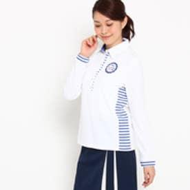 アダバット adabat 【UVカット】【吸水速乾】サイドボーダー長袖ポロシャツ (ホワイト)
