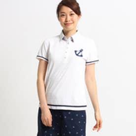 アダバット adabat 【UVカット】【吸水速乾】イカリマークモチーフ半袖ポロシャツ (ホワイト)