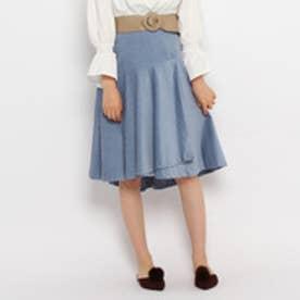 エージー バイ アクアガール AG by aquagirl コーデュロイ切り替えフレアスカート (ライトブルー)