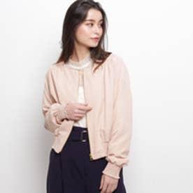 エージー バイ アクアガール AG by aquagirl サテン起毛ノーカラーブルゾン (ピンク系)