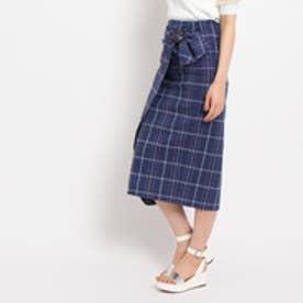 エージー バイ アクアガール AG by aquagirl 【洗える】綿麻チェックラップスカート (ブルー)