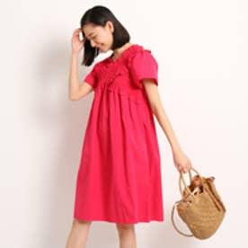 エージー バイ アクアガール AG by aquagirl 【洗える】クロスシャーリングワンピース (ピンク)