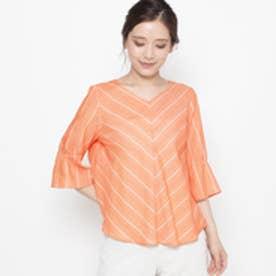 エアパペル AIRPAPEL 【洗える】ツイルボーダーシャツ (オレンジ)