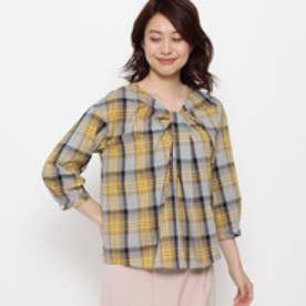 エアパペル AIRPAPEL 【洗える】センタークロスチェックシャツ (グレー)