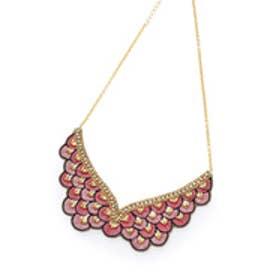 アナトリエ anatelier MARIANA FERREIRO フェザー刺繍ネックレス (ベビーピンク)