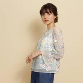 アナトリエ anatelier 【美人百花3月号】【Lサイズあり】チュール刺繍シャツ (ホワイト)