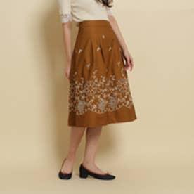 アナトリエ anatelier 【セットアップあり】Nesessaire ボーリング刺繍スカート (ブラウン)
