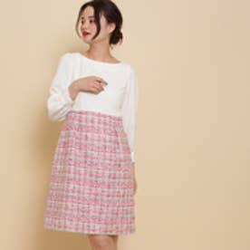 アナトリエ anatelier 【S-Lサイズあり】抄繊糸ツイードワンピース (ピンク)