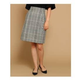 アナトリエ anatelier 高密度チェックタイトスカート (ブラック)