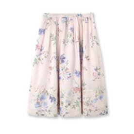 アクアガール aquagirl 【洗える】フラワー柄ギャザースカート (ベビーピンク)