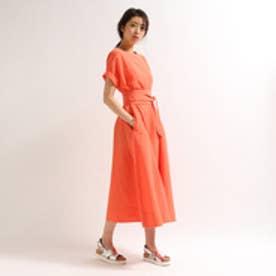 アクアガール aquagirl 【洗える】サッシュベルト付ロングワンピース (オレンジ)
