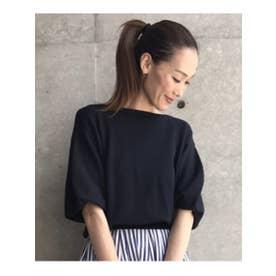 アクアガール aquagirl 【洗える】ボリュームスリーブコットンニット (ネイビー)
