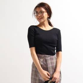 アクアガール aquagirl 綿カシミヤ細リブカットソー (ブラック)