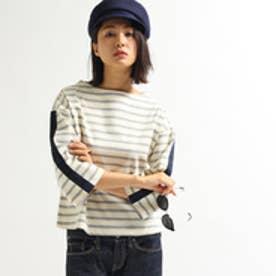 アクアガール aquagirl テープボーダーコットンプルオーバー (ライトグレー)