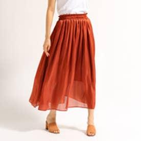 アクアガール aquagirl 【追加生産】【洗える】シャイニーギャザースカート (ダークブラウン)