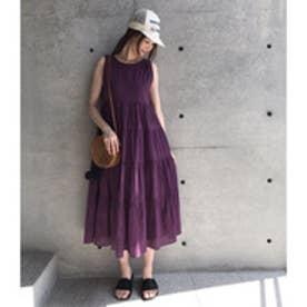 アクアガール aquagirl 【WEB限定】切り替えフレアワンピース (ロイヤルパープル)