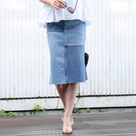 アクアガール aquagirl 【洗える】パネルデニムスカート (ライトブルー)