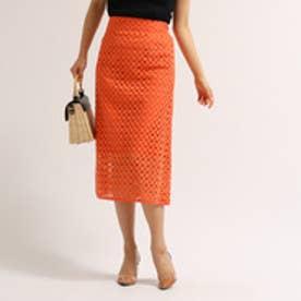 アクアガール aquagirl 刺繍レースタイトスカート (オレンジ)