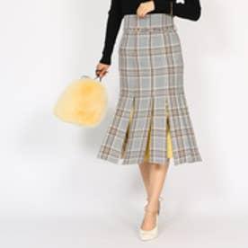 アクアガール aquagirl オータムチェックブラインドプリーツスカート (ベージュ)