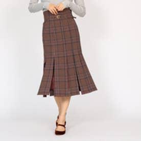 アクアガール aquagirl オータムチェックブラインドプリーツスカート (ボルドー)