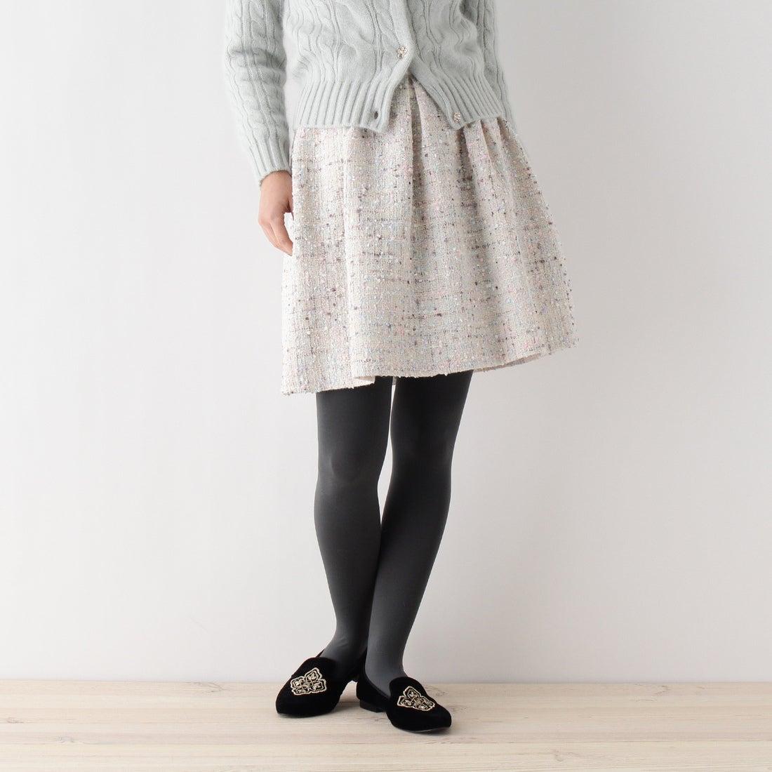 【SALE 30%OFF】ボンメルスリー Bon mercerie 【SSサイズあり】ファンシーツイードスカート (オフホワイト)