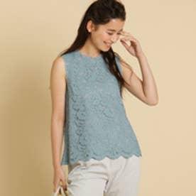 ボンメルスリー Bon mercerie 【Sサイズあり】コードレースノースリーブシャツ (ブルー)