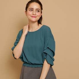 ボンメルスリー Bon mercerie 裾シャーリングシャツ (ダークグリーン)