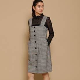 ボンメルスリー Bon mercerie オータムチェックジャンパースカート (ブラック)