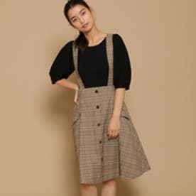 ボンメルスリー Bon mercerie オータムチェックAラインスカート (ブラウン)