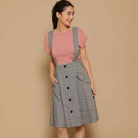 ボンメルスリー Bon mercerie オータムチェックAラインスカート (ブラック)