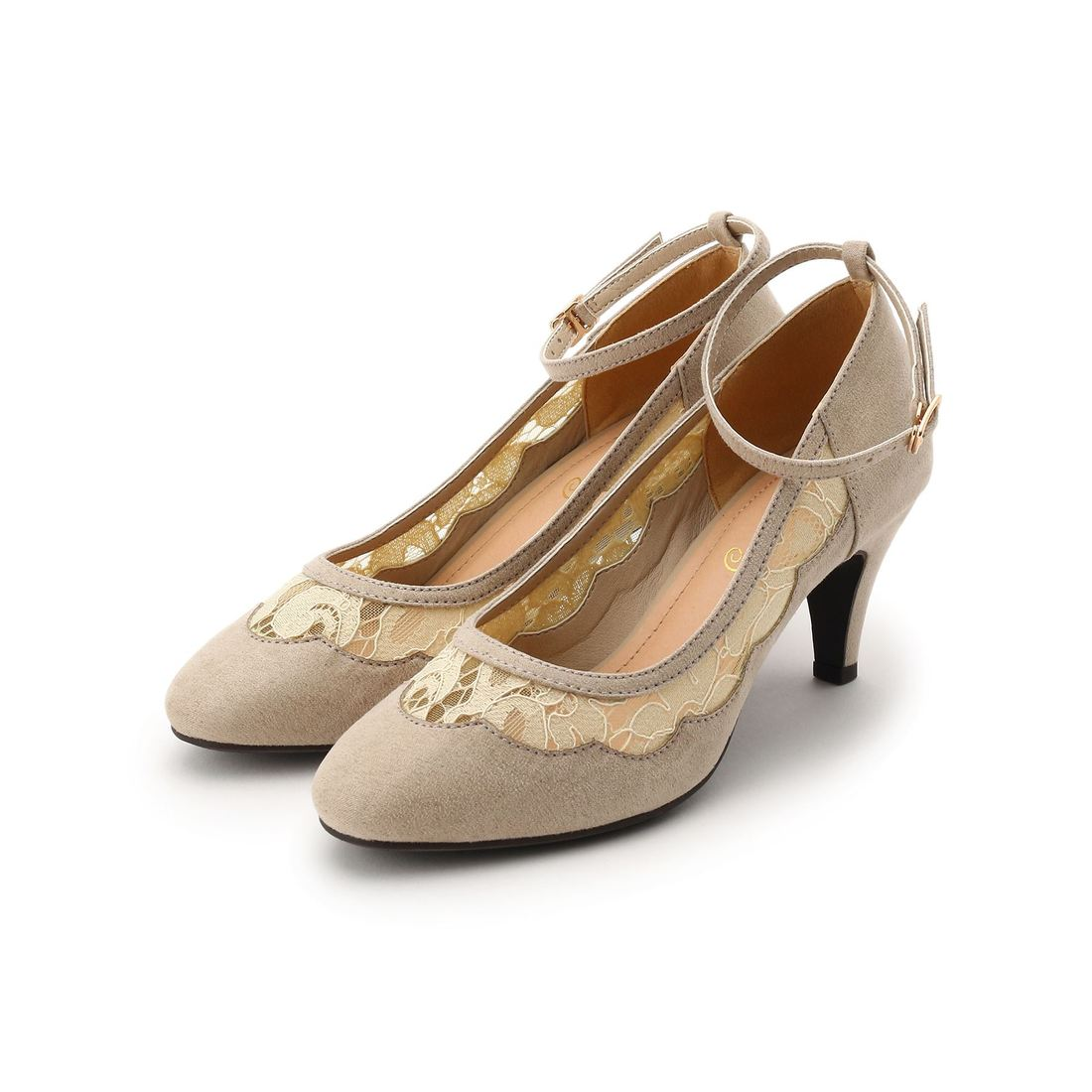 39e0bd88f65838 クチュール ブローチ Couture brooch サイドレースストラップパンプス (ベージュ) -靴&ファッション通販  ロコンド〜自宅で試着、気軽に返品