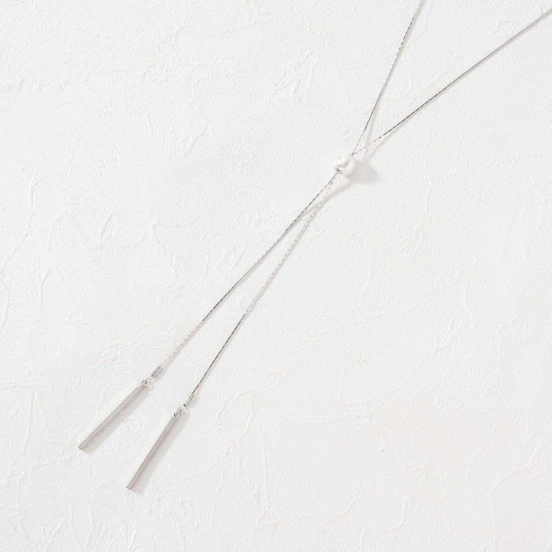 クチュール ブローチ Couture brooch パール調アジャストラリエットネックレス (シルバー)