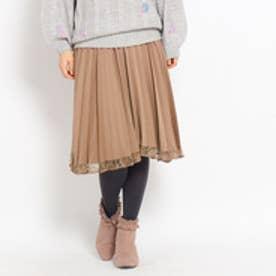 クチュール ブローチ Couture brooch 裾レースサテンプリーツスカート (ベージュ系)