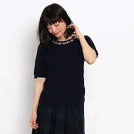 クチュール ブローチ Couture brooch 半袖ビジューニットプルオーバー (ブルー系)