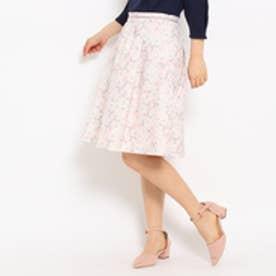 クチュール ブローチ Couture brooch フラワープリントフレアスカート (ベビーピンク)