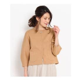 クチュール ブローチ Couture brooch 【WEB限定・80%OFF】ビジューボタンショートニットジャケット (キャメル)