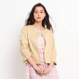クチュール ブローチ Couture brooch パールビジューボタンノーカラージャケット (ライトベージュ)